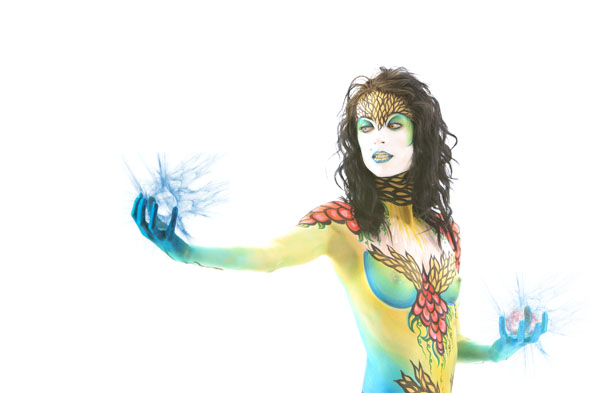 super hero body paint on nude woman by Mark Laurie, Inner Spirit Photography