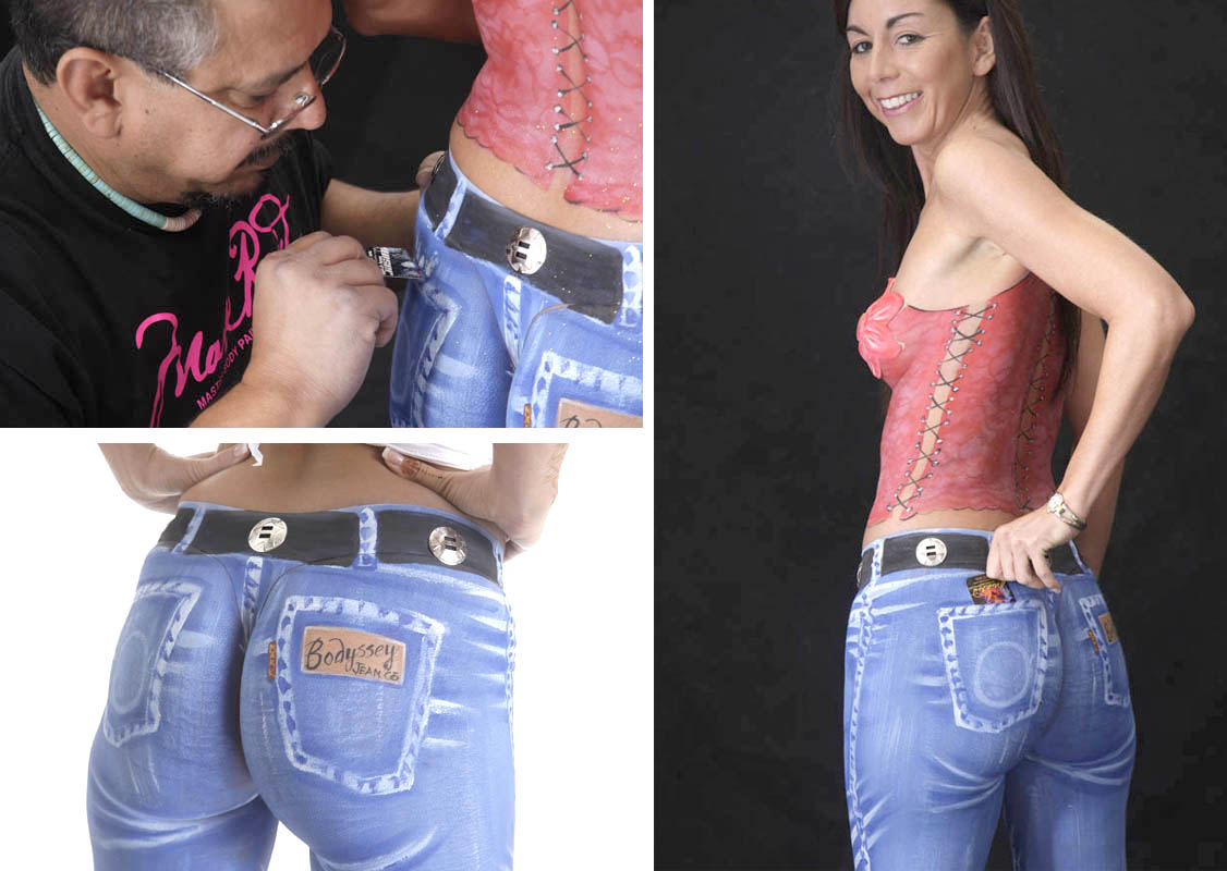 body painted blue jeans and corset boudoir by Mark Laurie Inner Spirit Photo