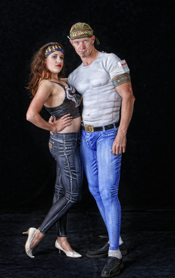 nude couple body painted, looking like 50's rockers