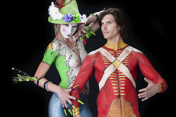 body painted characters start off nude, bright colors
