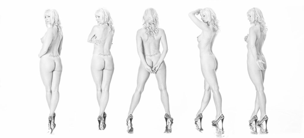Inner Spirit Photo by Mark Laurie Boudoir nude in heels 5 different back views in black and white in Calgary, Canada.
