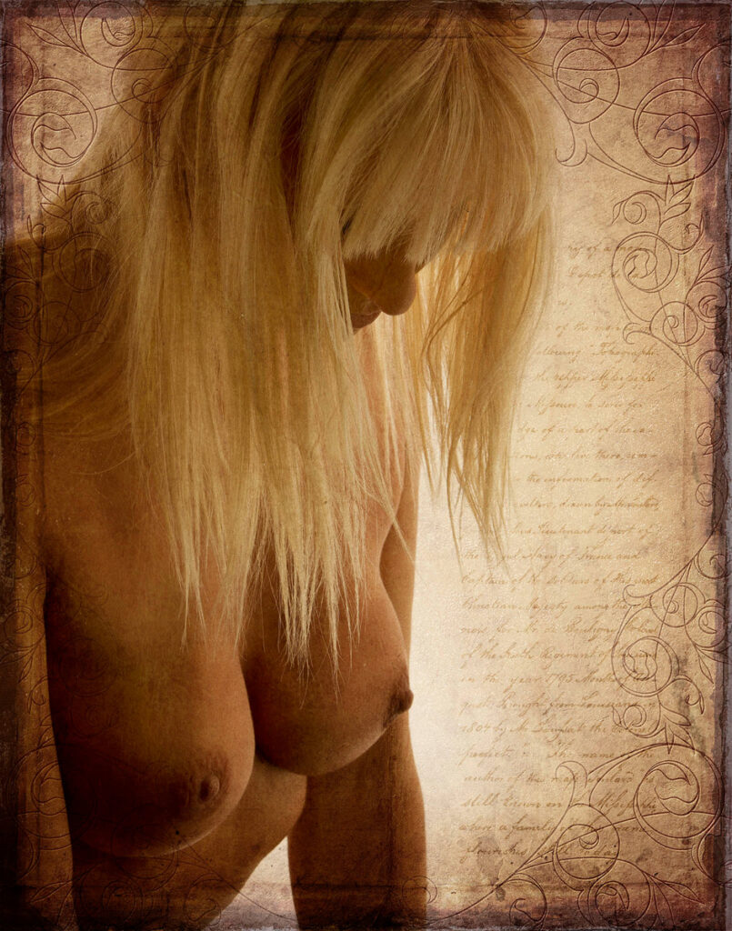 Inner Spirit Photo by Mark Laurie Boudoir nude from breasts up with blonde hair hiding face, artistic texture added in Calgary, Canada