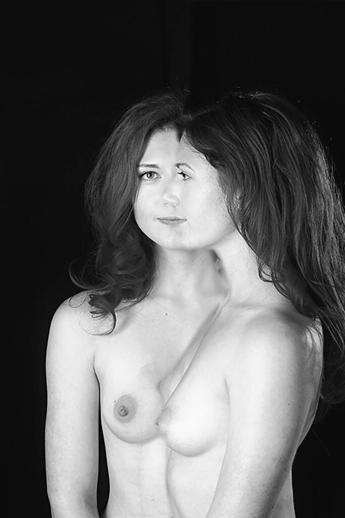 Inner Spirit Photo by Mark Laurie Boudoir black and white nude to waist front view, side view overlapping in Calgary studio.