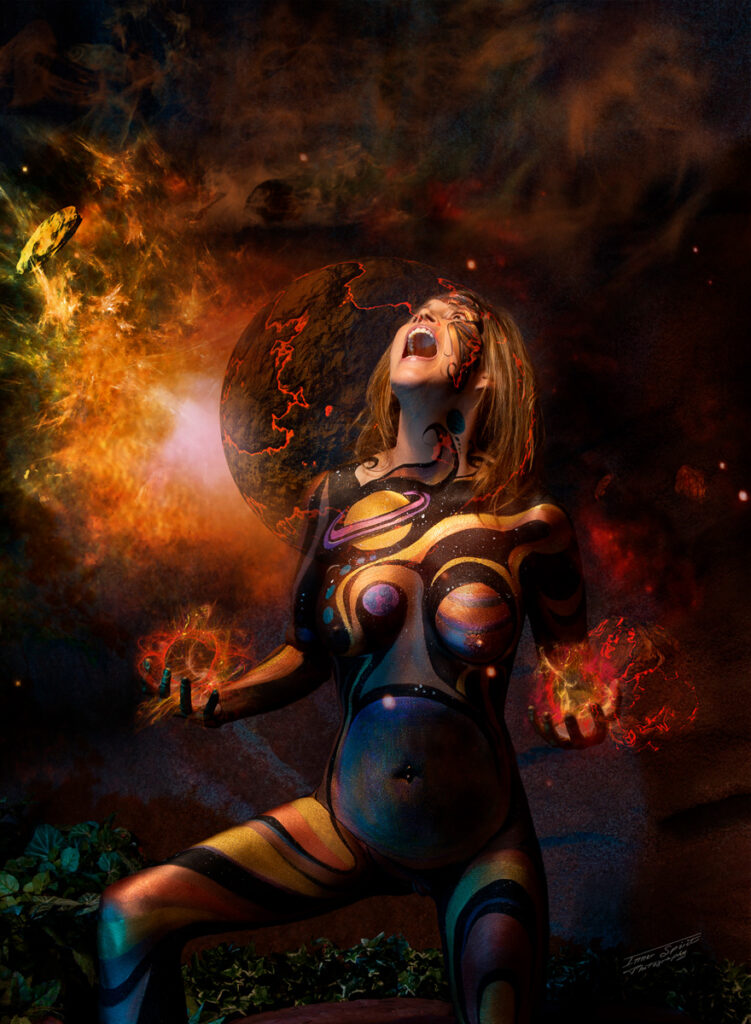 Inner Spirit Photo by Mark Laurie Boudoir abstract painted nude woman screaming at exploding planets artwork in Calgary studio.