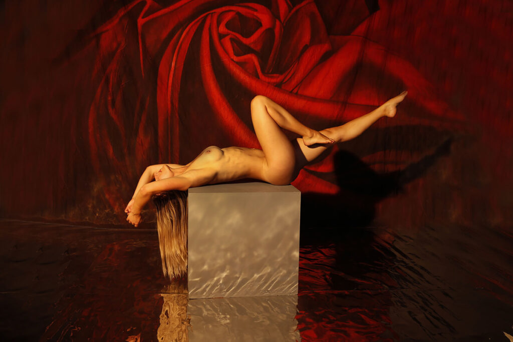 Inner Spirit Photo by Mark Laurie Boudoir sunlit nude lays on gray cube with eyes covered, knee up red rose background in Calgary studio.